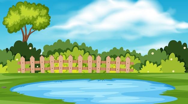 Landschaftshintergrund des parks mit teich