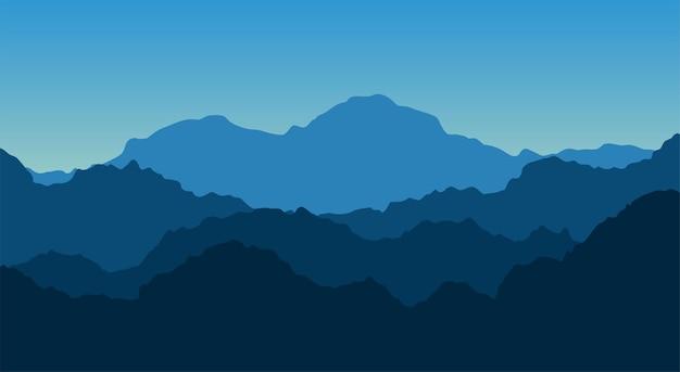 Landschaftshintergrund . die landschaft ist ein hoher berggipfel mit dem morgenhimmel.