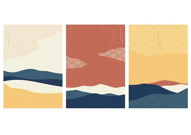 Landschaftshintergrund mit japanischem wellenmuster. abstrakte vorlage mit geometrischem muster. gebirgslayoutdesign im asiatischen stil.
