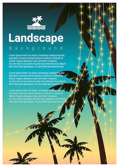 Landschaftshintergrund mit palmen am tropischen strandfest