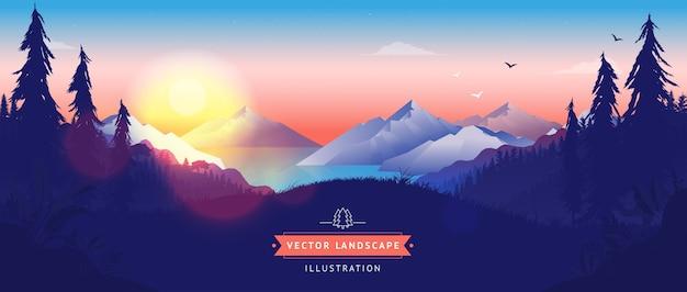 Landschaftshintergrund mit sonnenaufgang über bergen und wald
