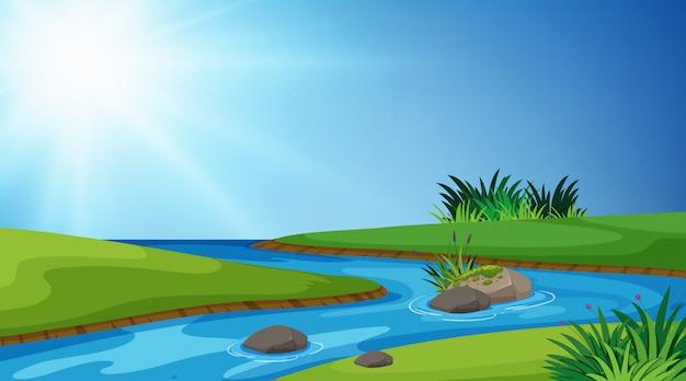 Landschaftshintergrund von fluss und von grünem gras