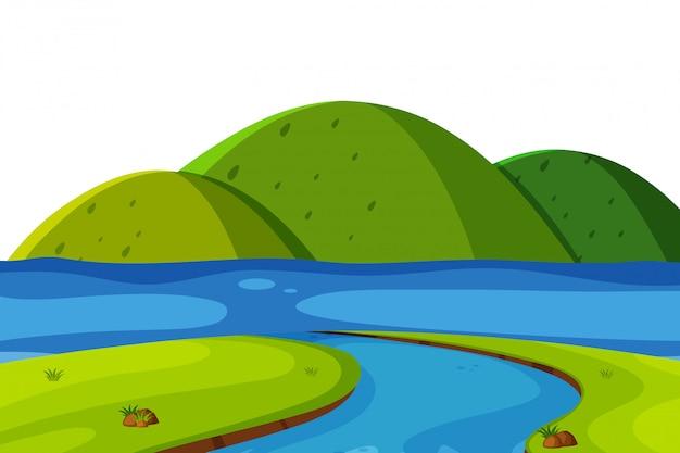 Landschaftshintergrund von grünen bergen und von fluss