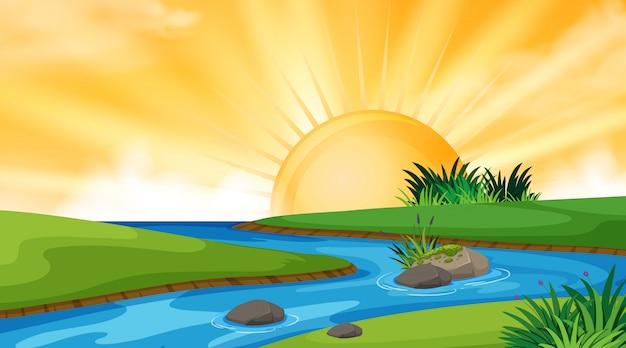 Landschaftshintergrunddesign von fluss bei sonnenuntergang