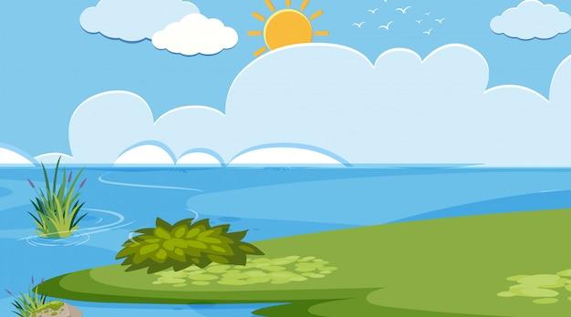 Landschaftshintergrunddesign von fluss und von grünem feld