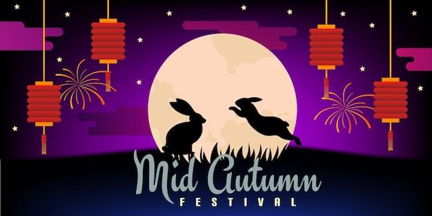 Landschaftshintergrundillustrationspaar kaninchen glücklich bei garten mitte herbst festival feier