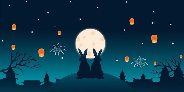 Landschaftshintergrundpaar kaninchen sehen auf hügel mitte herbstfest feier