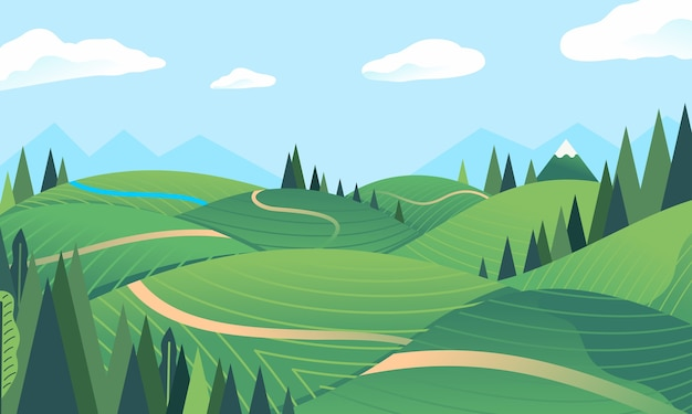 Landschaftshügel, berg im hintergrund, wald, grünes feld, kleiner fluss. wird für poster, banner, webbilder und andere verwendet