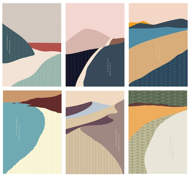Landschaftsillustration mit japanischem wellenstil. abstrakte kunst, bergwald, wüstenillustration.