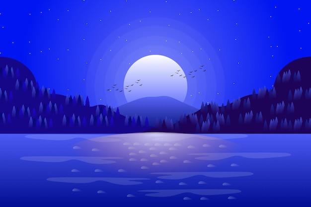 Landschaftskarikatur des meeres und des sternenklaren nachthimmels in der blauen farbillustration