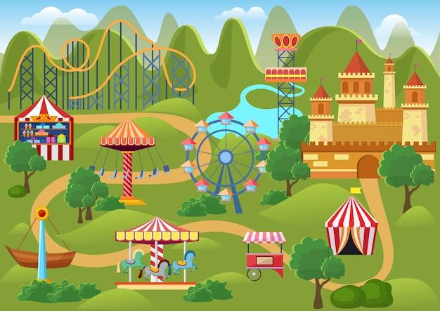Landschaftskarte des vergnügungsparkkonzepts mit flachen fairground-elementen, schloss, gebirgskarikaturillustration