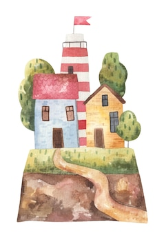 Landschaftskinderhäuser und leuchtturm auf einem hügel mit einem fußweg, illustration auf weißem hintergrund