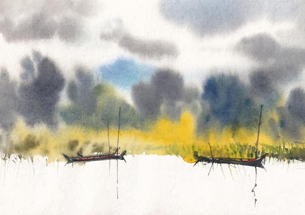 Landschaftsmalerei am flussufer