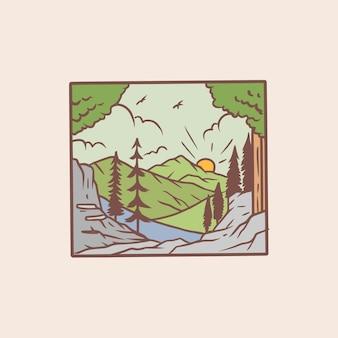 Landschaftsmonoline-abzeichenillustration Premium Vektoren