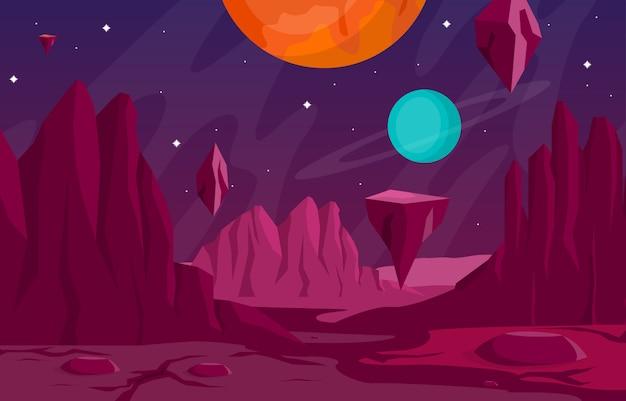 Landschaftsoberfläche des planeten himmel