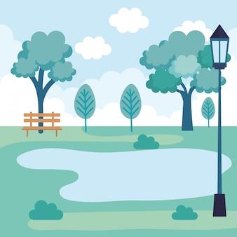 Landschaftspark-szene-symbol
