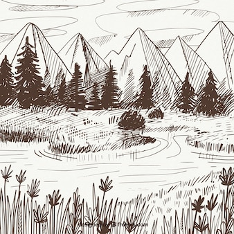 Landschaftsskizze der berge und kiefern