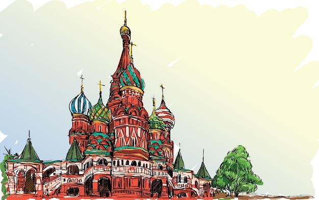 Landschaftsskizze, moskau, russland, roter platz, freie handzeichnungsillustration