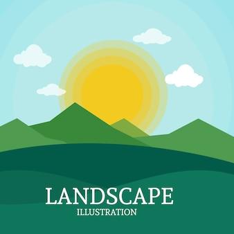 Landschaftssonnenaufgang-gebirgshintergrund