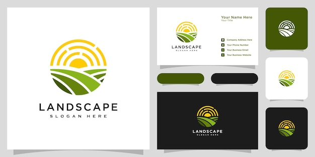 Landschaftssonnenlogovektordesign und -visitenkarte