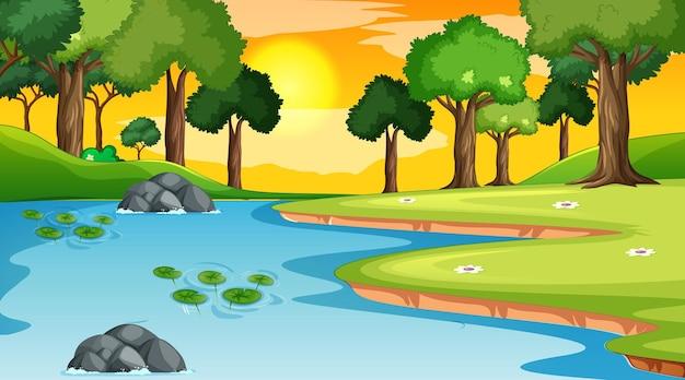 Landschaftsszene des waldes mit fluss und vielen bäumen