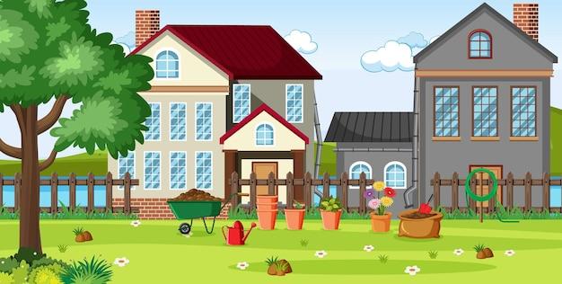 Landschaftsszene mit garten vor den häusern
