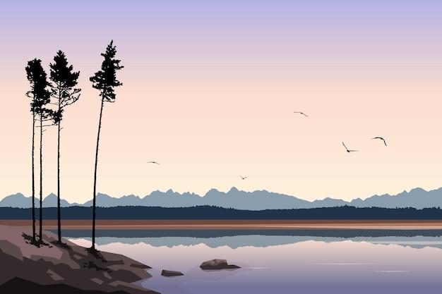 Landschaftsvektorillustration schöne naturkiefer am seeufer im freien berge und wald