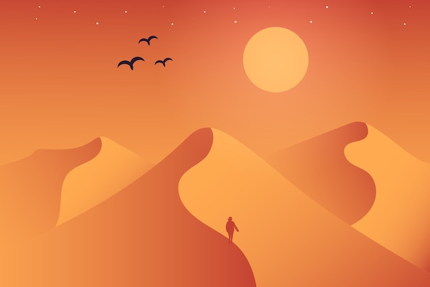 Landschaftswüste, in der die atmosphäre tagsüber sehr heiß ist