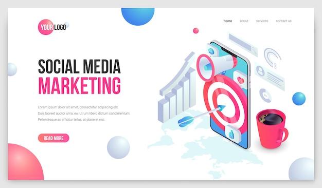 Landung im digitalen marketing. social media mobile isometrische webseitenkonzept. trendige 3d-geschäftsanalyse