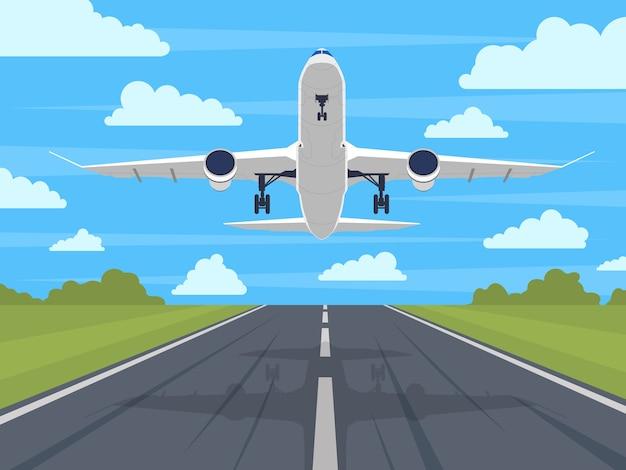 Landung oder start des flugzeugs im blauen himmel