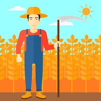 Landwirt auf dem feld mit sense.