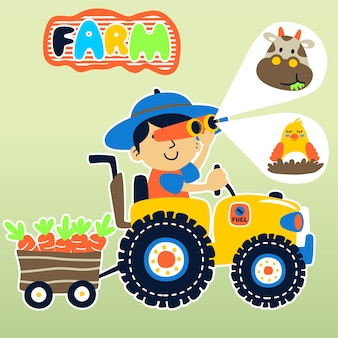 Landwirt auf traktor mit seinem vieh
