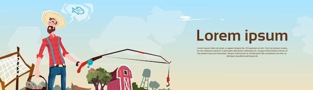 Landwirt, der ackerland-hintergrund-flache vektor-illustration fischt