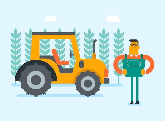Landwirt, der auf dem ländlichen gebiet mit traktor steht.