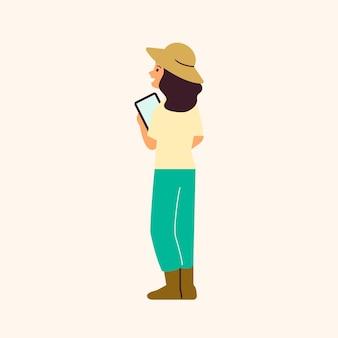 Landwirt, der die digitale landwirtschaft des technologievektors verwendet