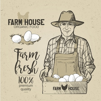 Landwirt, der eine schachtel lebensmittel hält. eier. vektorillustration in der weinleseart.
