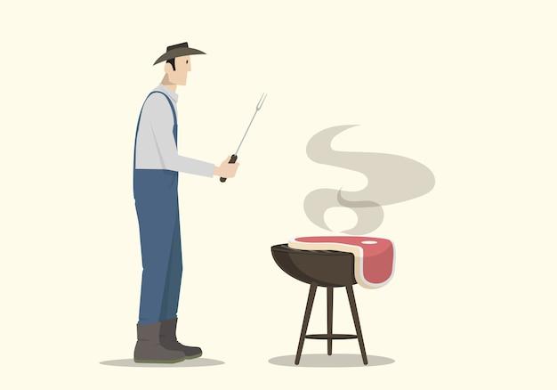 Landwirt, der großes steak auf dem grill kocht