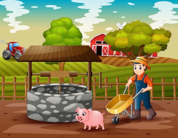 Landwirt, der in der farmlandschaft arbeitet