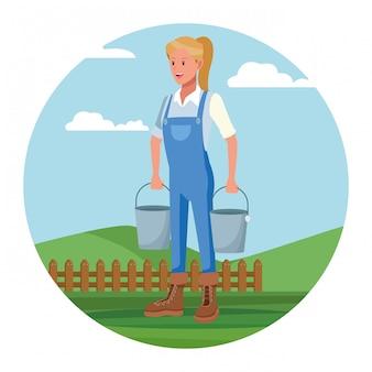 Landwirt, der in der lagerkarikatur arbeitet