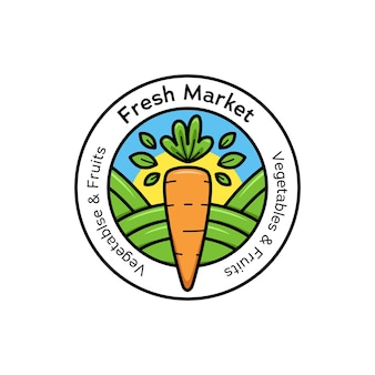 Landwirt frischmarkt-logo-abzeichen-symbol in runder form mit karottenillustration