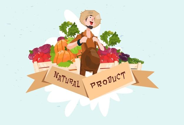 Landwirt-gemüseernte-naturprodukt eco fresh farm logo