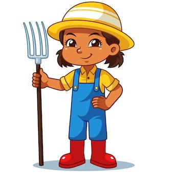 Landwirt girl holding fork bereit zu arbeiten.