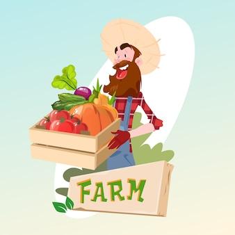 Landwirt-hold-kasten mit dem gemüse, das logo concept bewirtschaftet