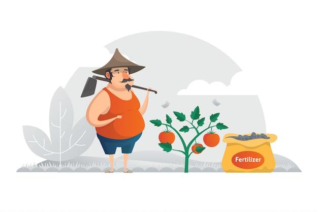 Landwirt-illustrations-konzept