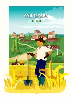 Landwirt im landschafts-hintergrund-plakat