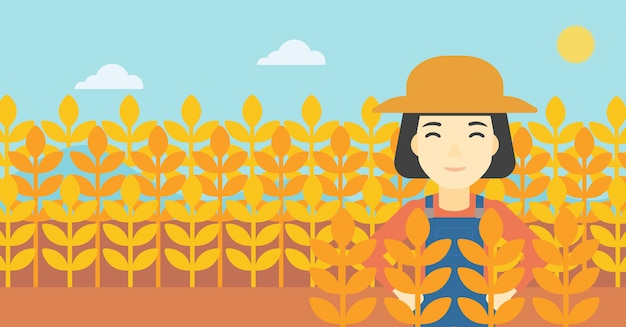 Landwirt im weizenfeld