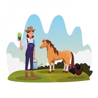 Landwirt in der ländlichen karikaturlandschaft des bauernhofes