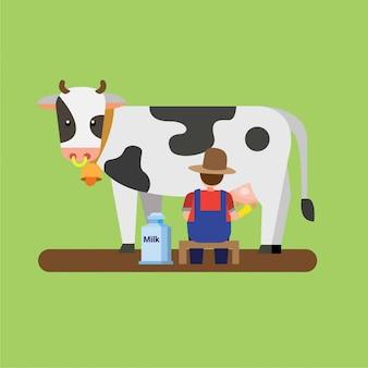 Landwirt melkt kuh, frische milch kann flache illustration