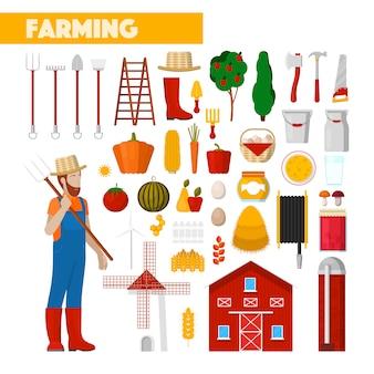 Landwirt mit landwirtschaftlichen geräten frische naturkost und windmühle. illustration