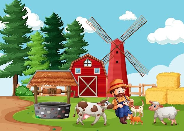 Landwirt mit tierfarm in der bauernhofszene im karikaturstil